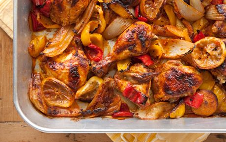 "Peruvian Roasted Chicken with Onions. ""This wonderfully aromatic chicken dish is short on prep and big on flavor. It's also a great dish to make ahead the day before and reheat -- it's even tastier after the flavors meld."""