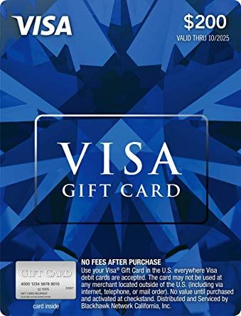 200 Visa Gift Card Plus 695 Purchase Fee