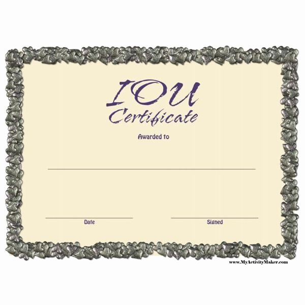 Funny Gift Certificate Template Inspirational Free Printable Iou Certificates Gift Certificate Template Certificate Templates Coupon Template