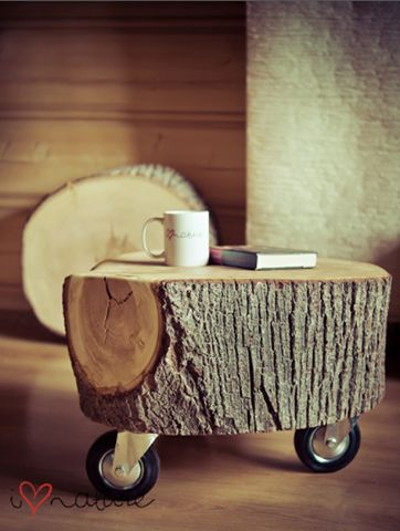 Stump table   no instructions, just the pic for the inspiration.  Would be great in a cabin.