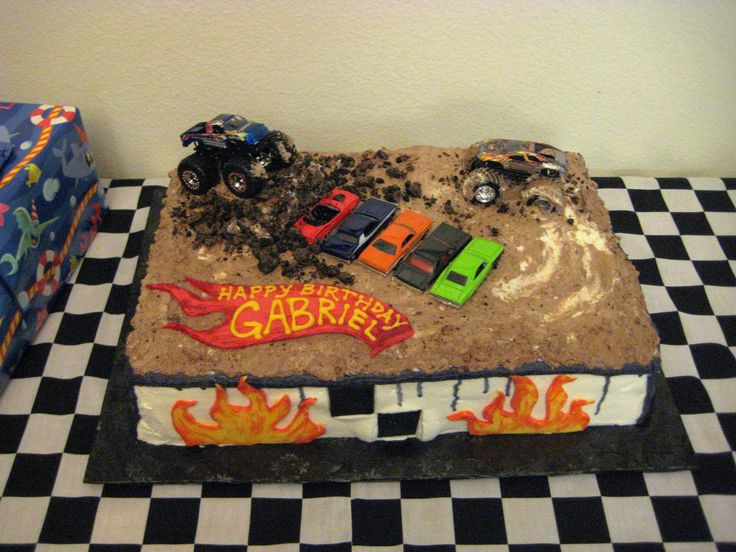 Monster Truck cake, plus party ideas including monster jam table