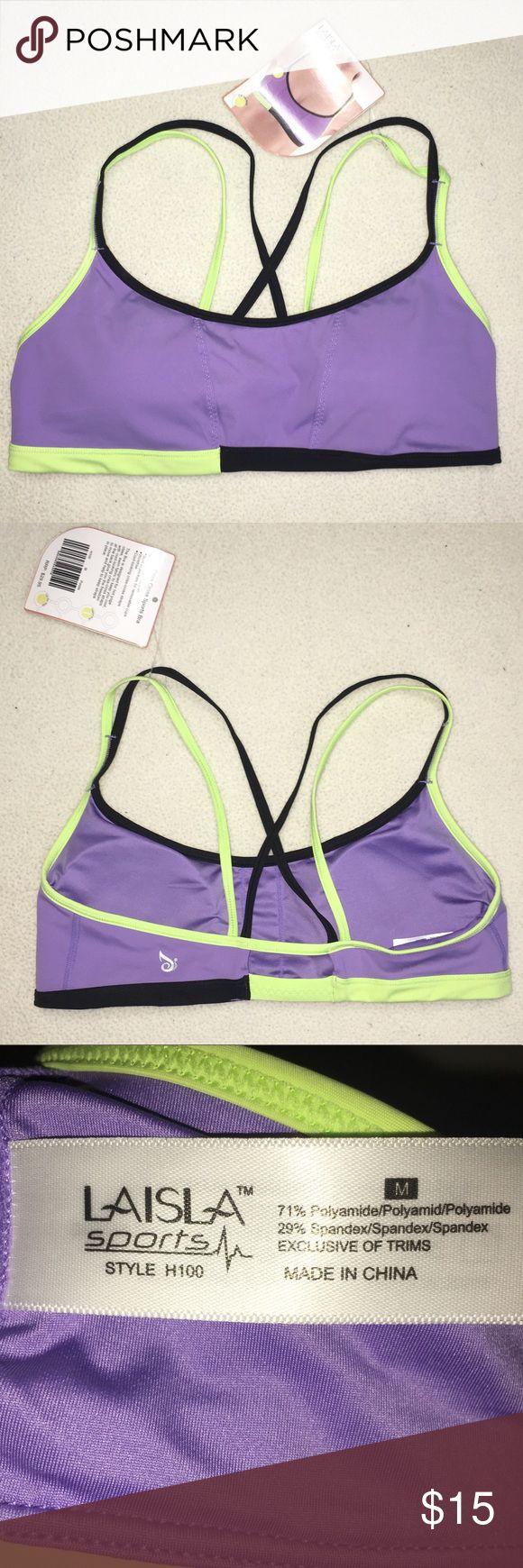 Strappy Sports Bra LAISLA SPORT size medium Purple sports bra with strappy cross-cross back. MEDIUM. LAISLA SPORT. NWT 😄 Has removable pads. Straps are not adjustable. Laisla Intimates & Sleepwear Bras