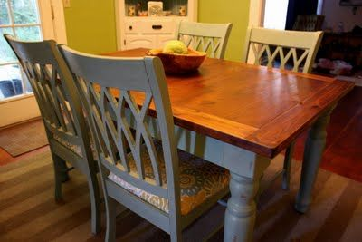 Love the refinished table and the fabric on the chairs!