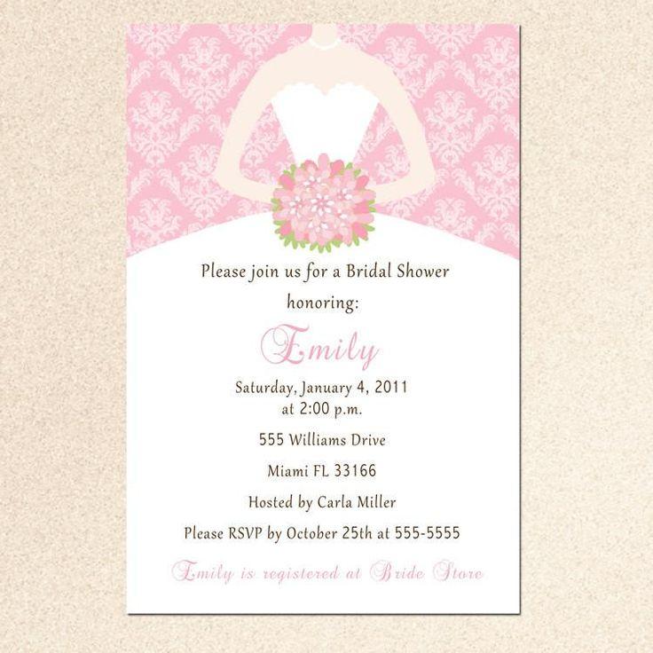 blank beach bridal shower invitations%0A Dress Invitation Bridal Shower Sweet    Pink Damask  u     Pink The Cat
