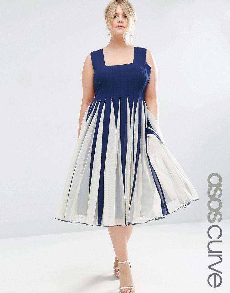 Bild 1 von ASOS CURVE – Ausgestelltes Netz-Kleid mit quadratischem Ausschnitt