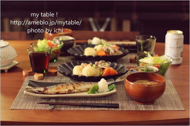 高島大樹 楕円皿/秋刀魚と肉じゃが