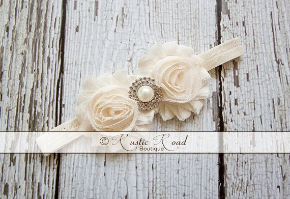 Ivory Cream Headband: Vintage Headband by RusticRoadBoutique