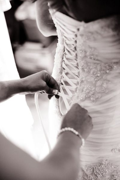 Morning of Wedding. Bride Getting Ready. Def need to tie the corset like this for the hourglass figure