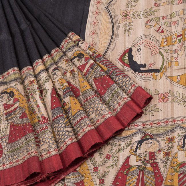Ghanshyam Sarode Madhubani Printed Tussar Silk Saree 10005502 - profile - AVISHYA.COM
