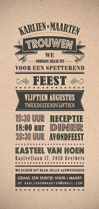 Huwelijk Karlien en Maarten - trouwkaart - achterkant - Pimpelpluis - https://www.facebook.com/pages/Pimpelpluis/188675421305550?ref=hl (# huwelijksuitnodiging - trouw - retro - banner - typografie - kaart - vintage - origineel)