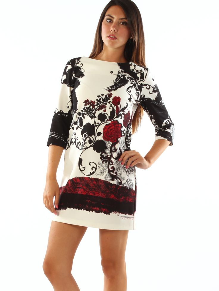 Floral patterned woven jersey A-line elegant short dress. Freesketch.  #Floral #patterned #woven #jersey #Aline #elegant #shortdress