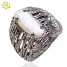 Hutang 100% Natural Perlas de Agua Dulce Barroca Sólido 925 Anillo de Plata Fina Joyería de Perlas para Las Mujeres Mejor Regalo(China)