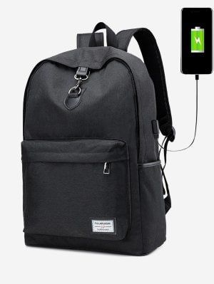 USB Charging Port Metal Backpack - Black