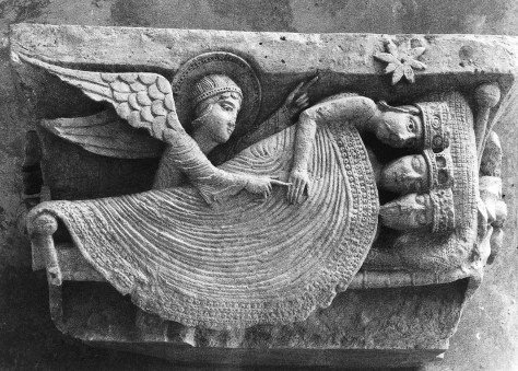 """The Romanesque  Cathedral of  St.Lazare contains several unique and intriguing carvings,including this,  """"The Magi sleeping"""",although notice  the angel touches one of them,and his eyes  have  just popped open!"""