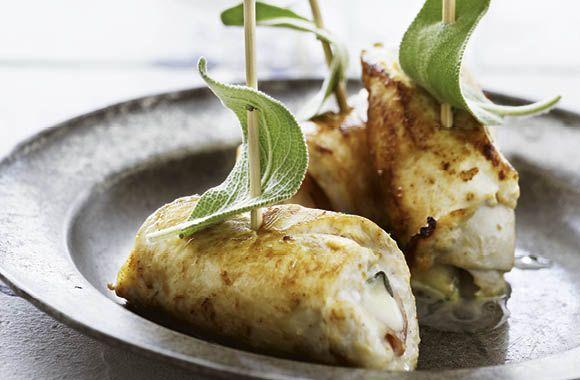 Kyllingeruller med skinke og mozzarella