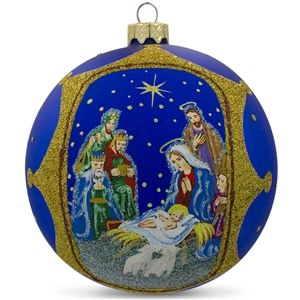 The Nativity Gathering Glass Ball Religious Christmas Ornament Holiday Gift Idea