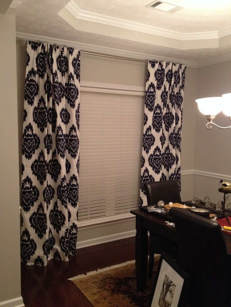 Navy Blue Ikat Curtains And Sherwin Williams Repose Gray Paint In My Dining