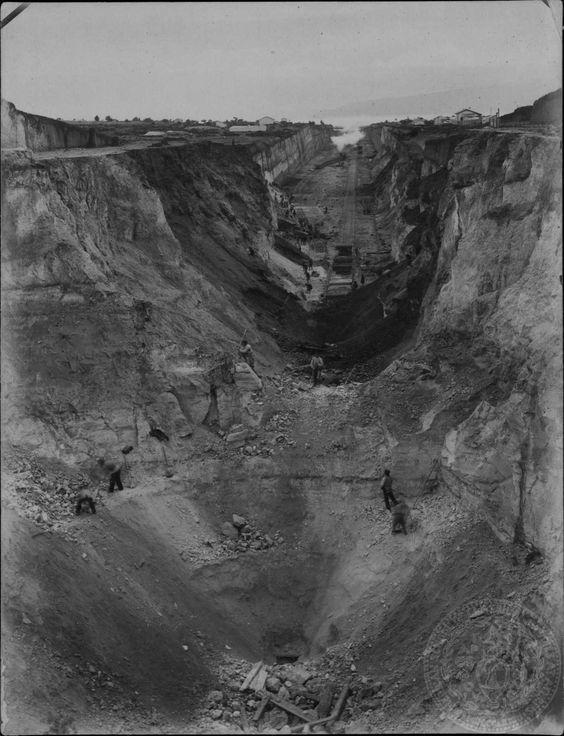 Ισθμός της Κορίνθου. Τα έργα διάνοιξης της διώρυγος. 1884 GENNADIUS LIBRARY ARCHIVES Photographs from the Historical Archives Stephanos Dragoumis:
