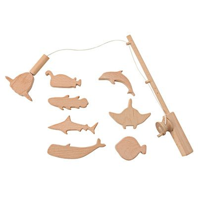 #Toys | Muji - Great idea! Could make a fishing pole with a magnet and pound a nail into the nose of the wooden fish.