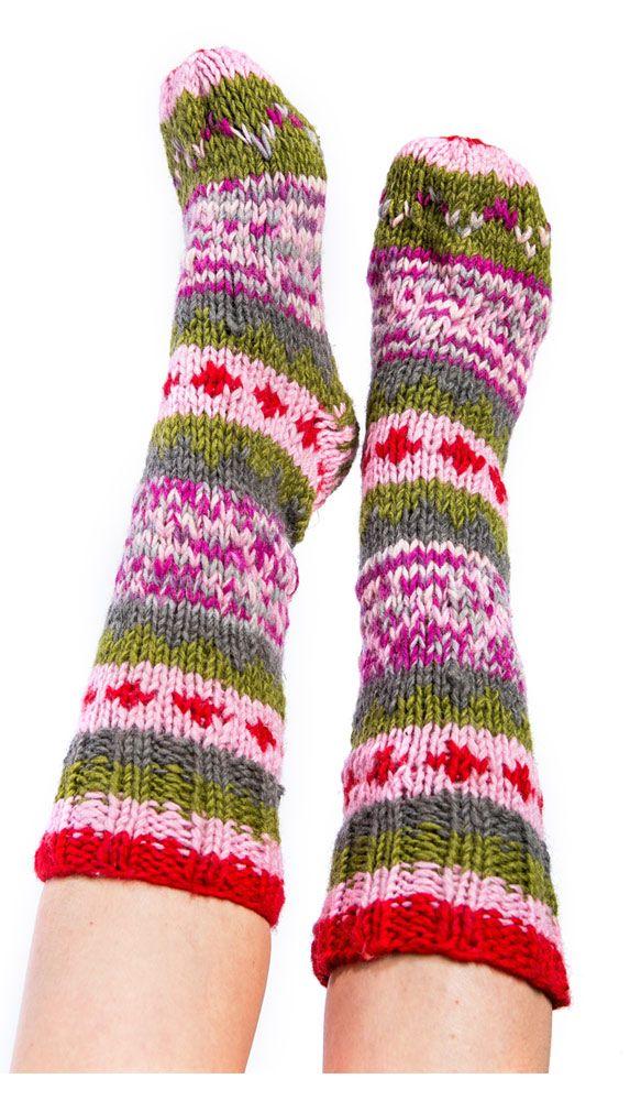 зимние носки с узорами из Непала, шерстяные гольфы, носки с пальцами, pink socks from Nepal , winter woolen socks, socks with his fingers. 870 рублей