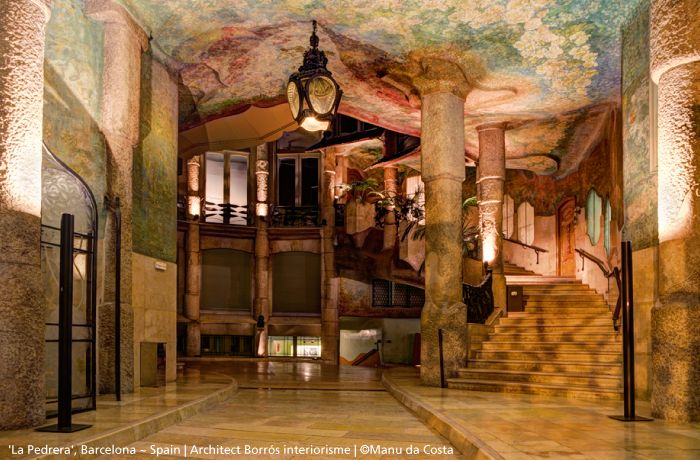 """In this incredible project, the architect wanted to reinforce the light in the hall in order to illuminate all the mural paintings of the walls and ceiling. Discrete but effective, two #Ilio floor lamps illuminate this hall so """"Barcelona""""! #design Ernesto Gismondi"""
