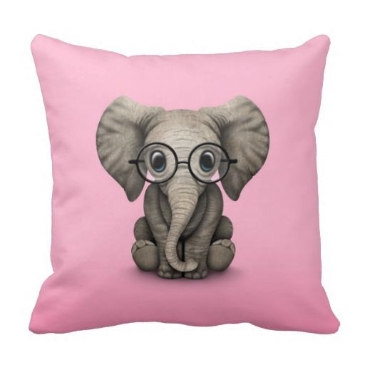 Adorable cushion for baby girl's room! Cute Baby Elephant with Reading Glasses Pink Throw PIllow by crazy creatures - bedroom home decor