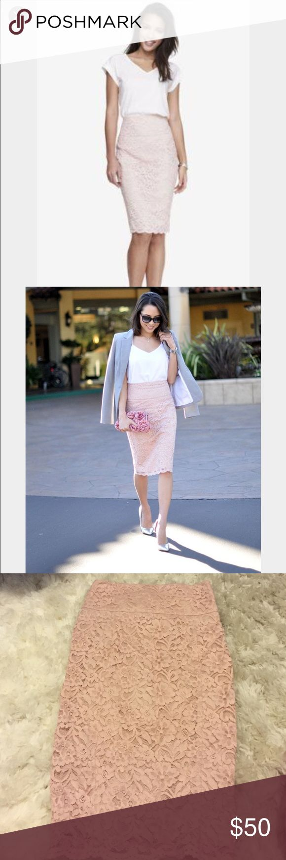 Dusty rose express lace pencil skirt Form fitted, lace pencil skirt, zips in back, brand new Express Skirts Pencil