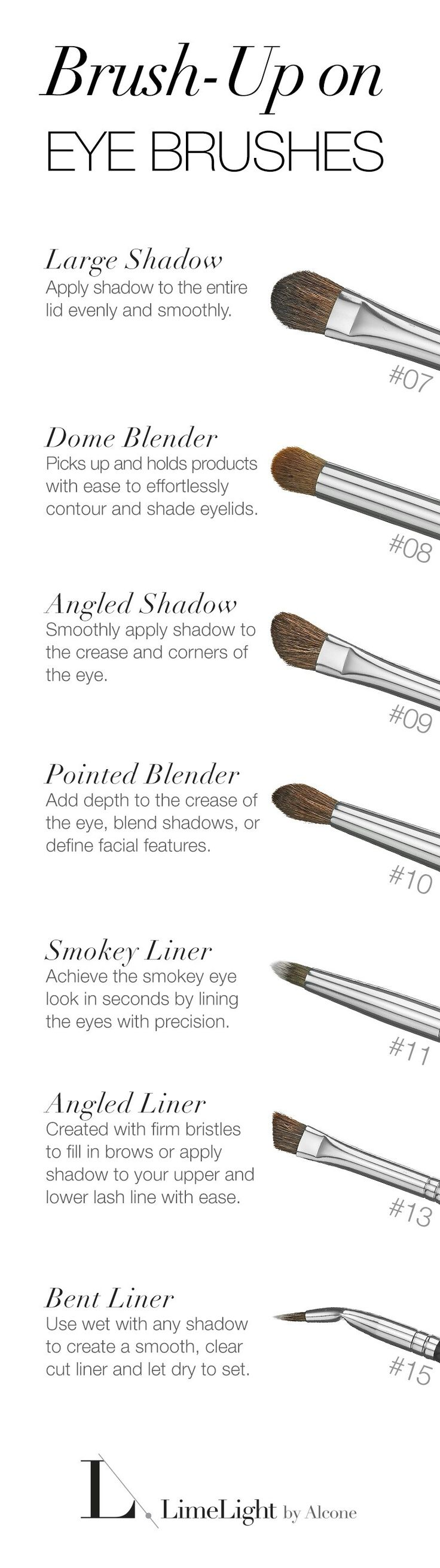 Using the right brushes will make a difference when applying eyeshadow. LIMELIGHT BY ALCONE - SIGNATURE VEGAN BRUSHES.
