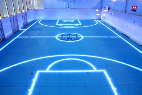 The 'Tron' tennis/5 a-side/basketball court: a new flooring product from Germany's ASB Systembau GMBH