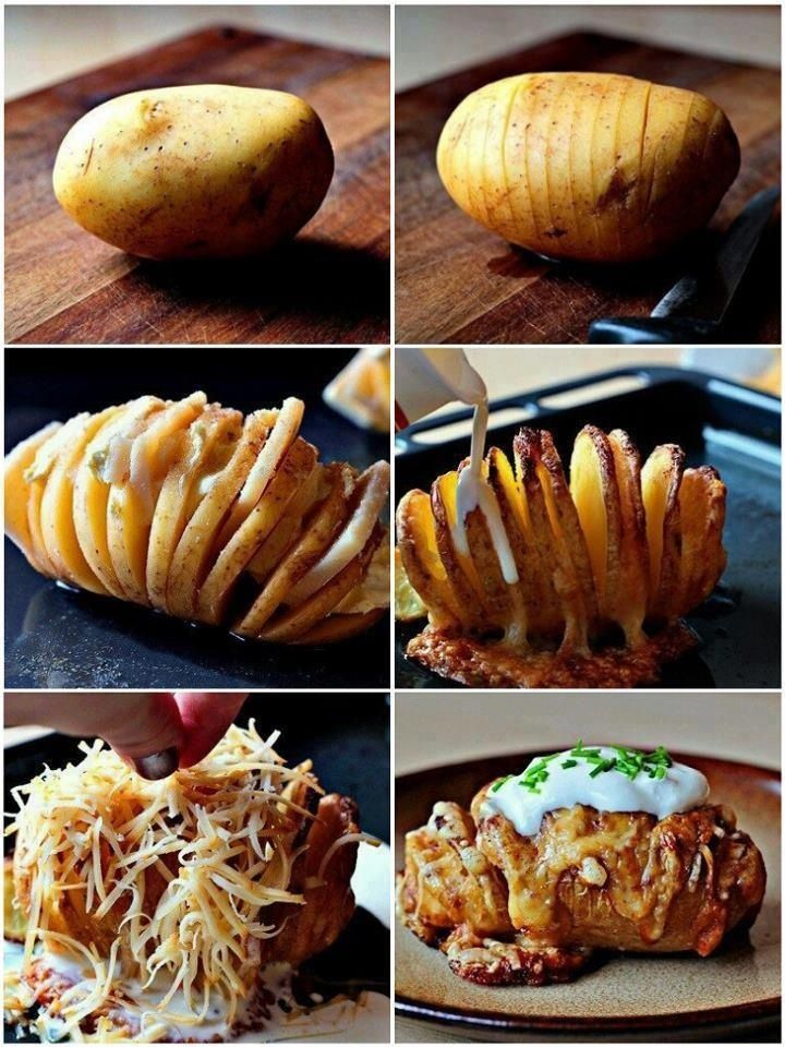 A potato done the right way....mmmmmm. You can also stop at the third step and sprinkle some olive oil & herbs and bake it to make potato wedges! Delish!