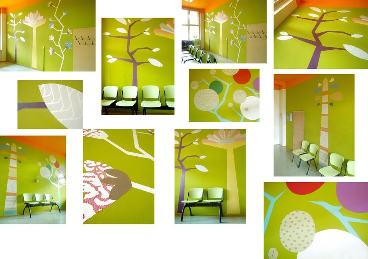 Original art mural - wall design for modern public space of waiting room in hospital. Created by Lucie Jirku (Studio CODECO).