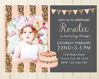 Glitter Invitation First Birthday Girl Pink Invitation Shabby Chic - First birthday invitations girl purple