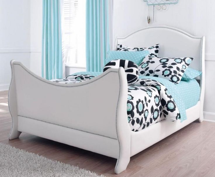 upholstered white full size bed design ideas with blue floral duvet cover as well light blue