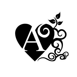 Graphic Design of Heart Clipart - Black Alphabet A with White Background