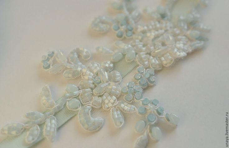 """Купить украшение в прическу """"Мятное"""" - мятный, мятно-голубой, голубой, нежность, изморозь, зима, мята"""