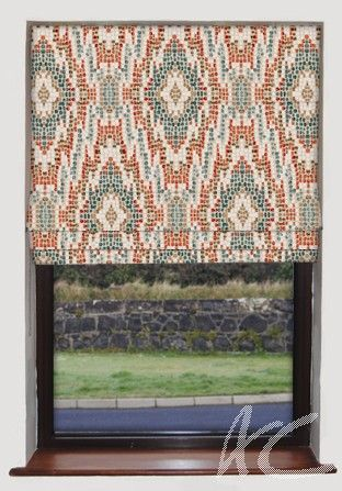 #Artiste #Mosaic #Teal #Roman #Blind Redecorating #New #House #Fabric #Turquoise #Russet