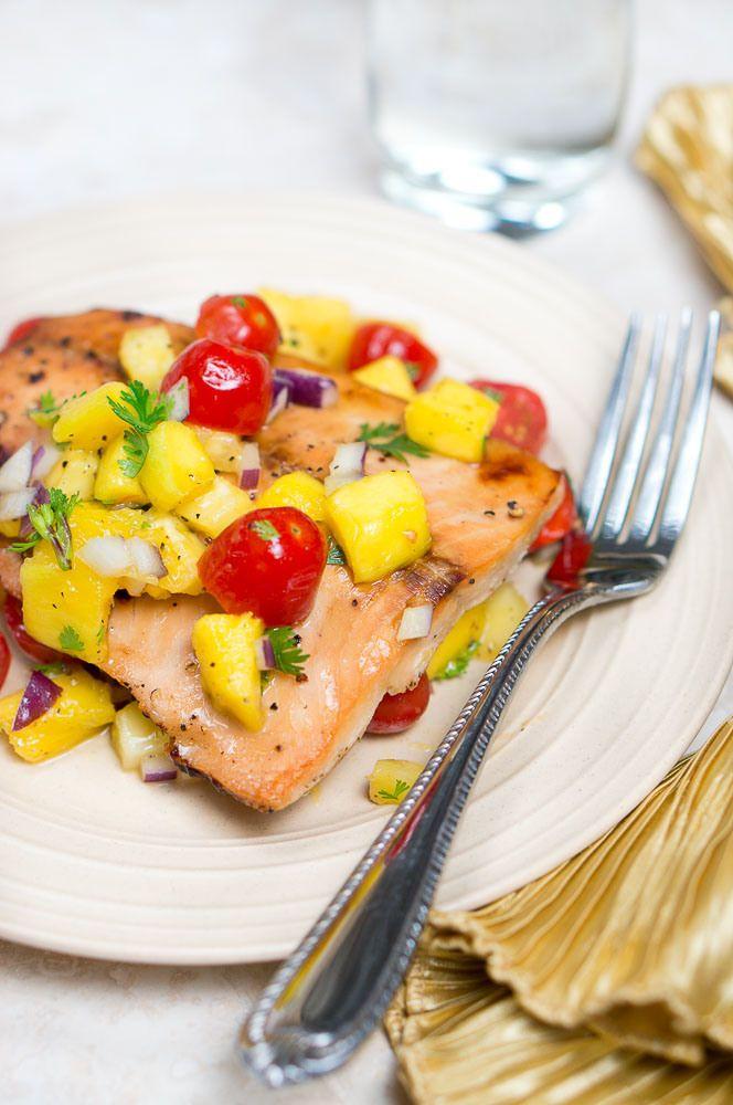 Salmon with mango/pineapple salsa