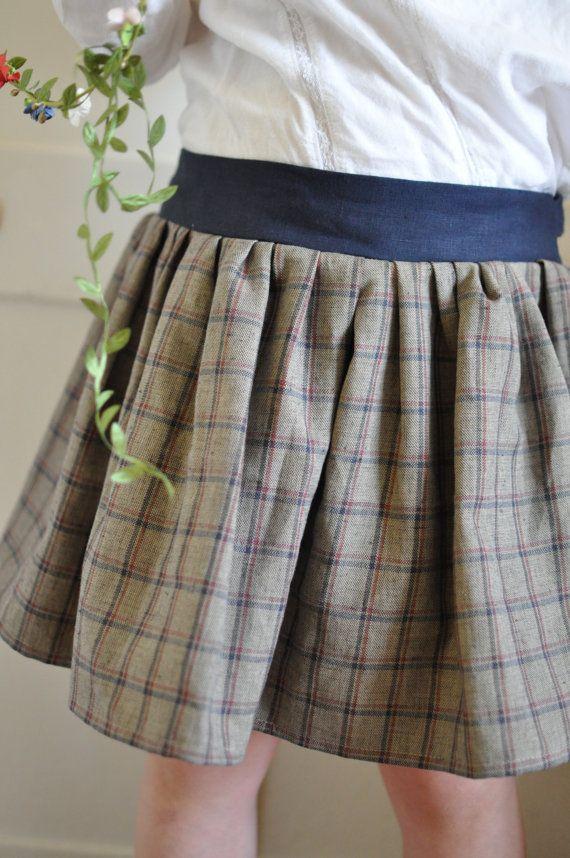 Girls+Skirt++Oatmeal+Tartan+Sash+Bow+Skirt+Childrens