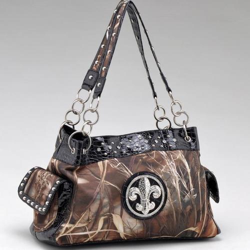 Real Tree Camouflage Fleur de Lis Shoulder Handbag Purse with Chain Handles Blk  http://stores.shop.ebay.com/jodezegiftsnmore