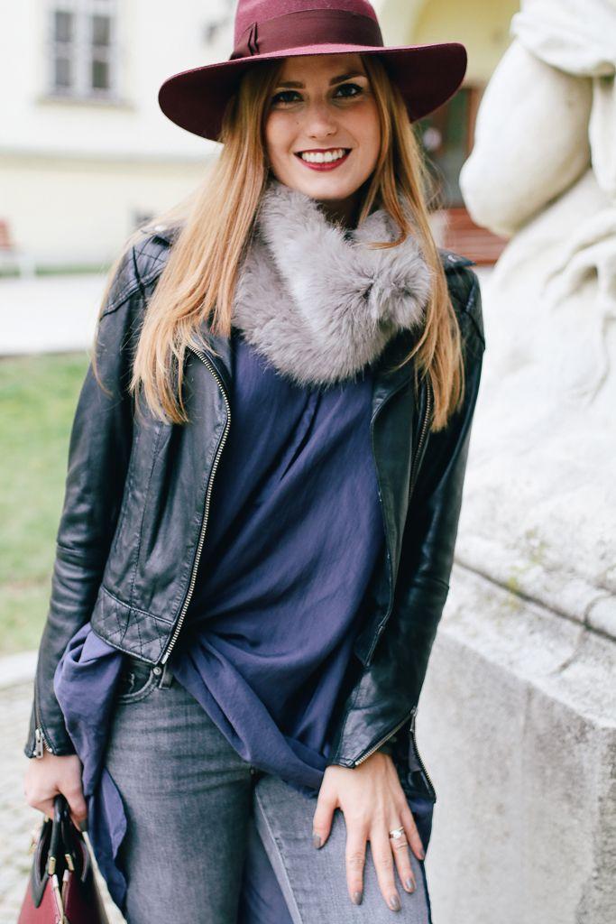 #fauxfurcollar #hat #burgundy #darkblue #grey #leatherjacket