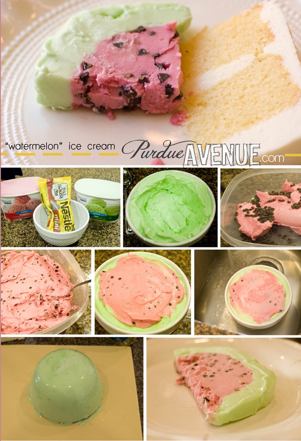 """""""watermelon""""  ice cream  :)  fun!  This is an old Tupperware recipe you got when you purchased their green lettuce keeper.  It's so good."""