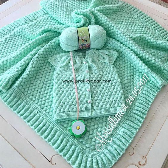 Bonbon Şekeri Örgü Modeli ile Bebek Battaniyesi Yapılışı