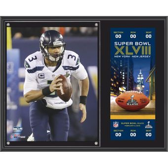 "Seattle Seahawks Russell Wilson Fanatics Authentic 12"" x 15"" Super Bowl XLVIII Champions Plaque with Replica Ticket"