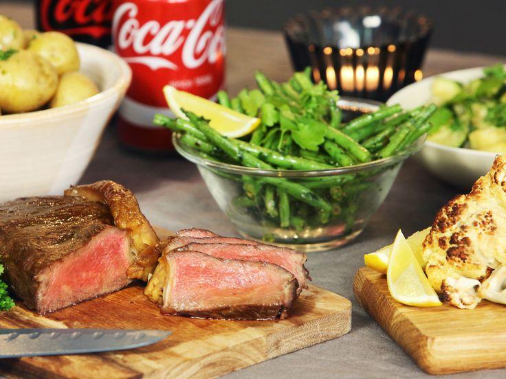 Glaserad biff med rostad blomkål | Recept från Köket.se