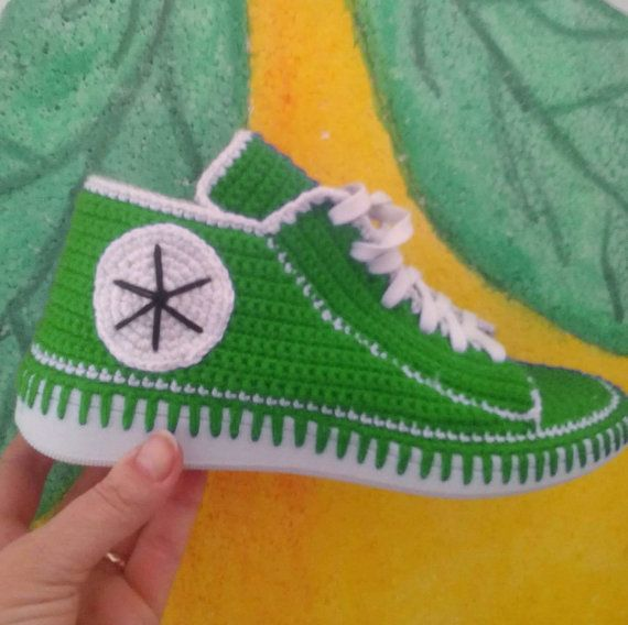 Crochet shoes with soles sneakers knitted adult by ReinasArtStore