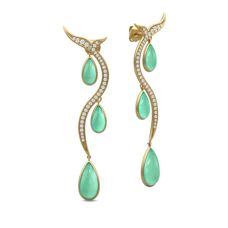 Mermaid gold earrings - 22 carat gold plated sterling silver earrings studded with cubic zirkonia and green brilliant cut crystals. AUD $685 -