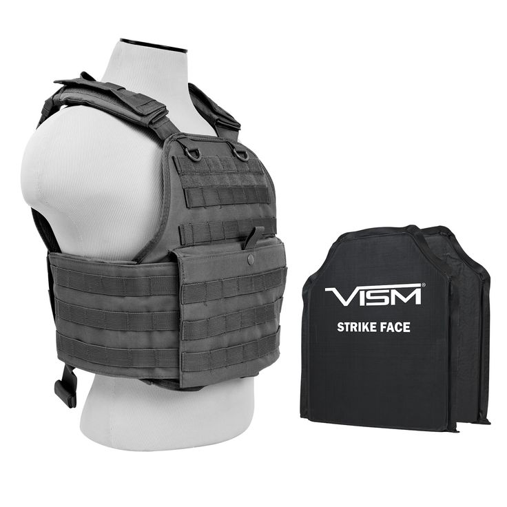VISM® Plate Carrier Vest + Two Level IIIA Soft Ballistic Panels (Black)