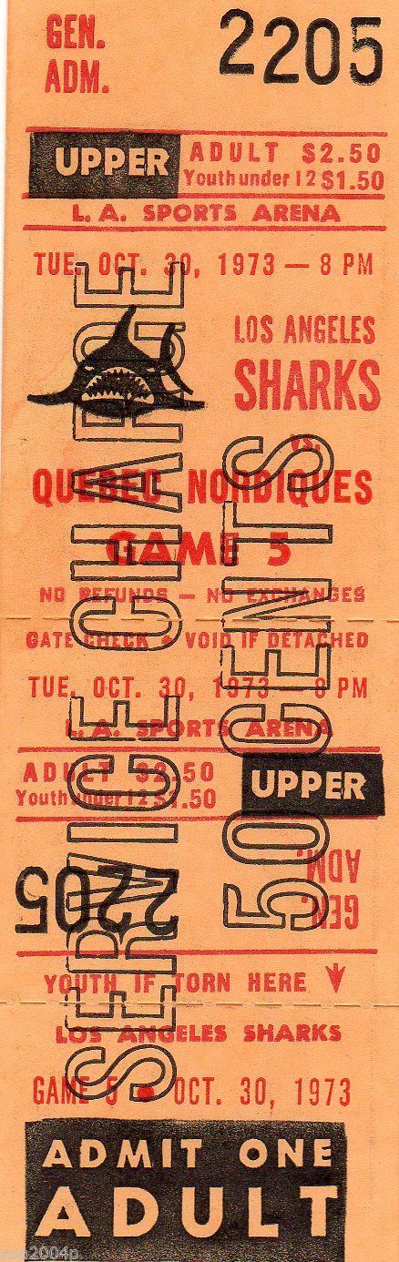WHA 1973 Quebec Nordiques Los Angeles Sharks Full Ticket Stub | eBay
