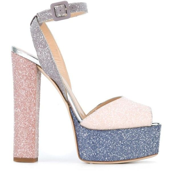 Giuseppe Zanotti Design 'Betty Glitter' sandals ($795) ❤ liked on Polyvore featuring shoes, sandals, heels, grey, leather platform sandals, leather ankle strap sandals, glitter sandals, metallic platform sandals and block heel sandals