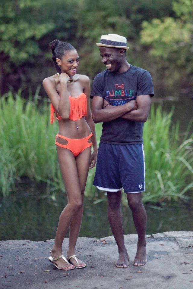 Orange Fringe tassel bikini with side cut out bikini bottoms